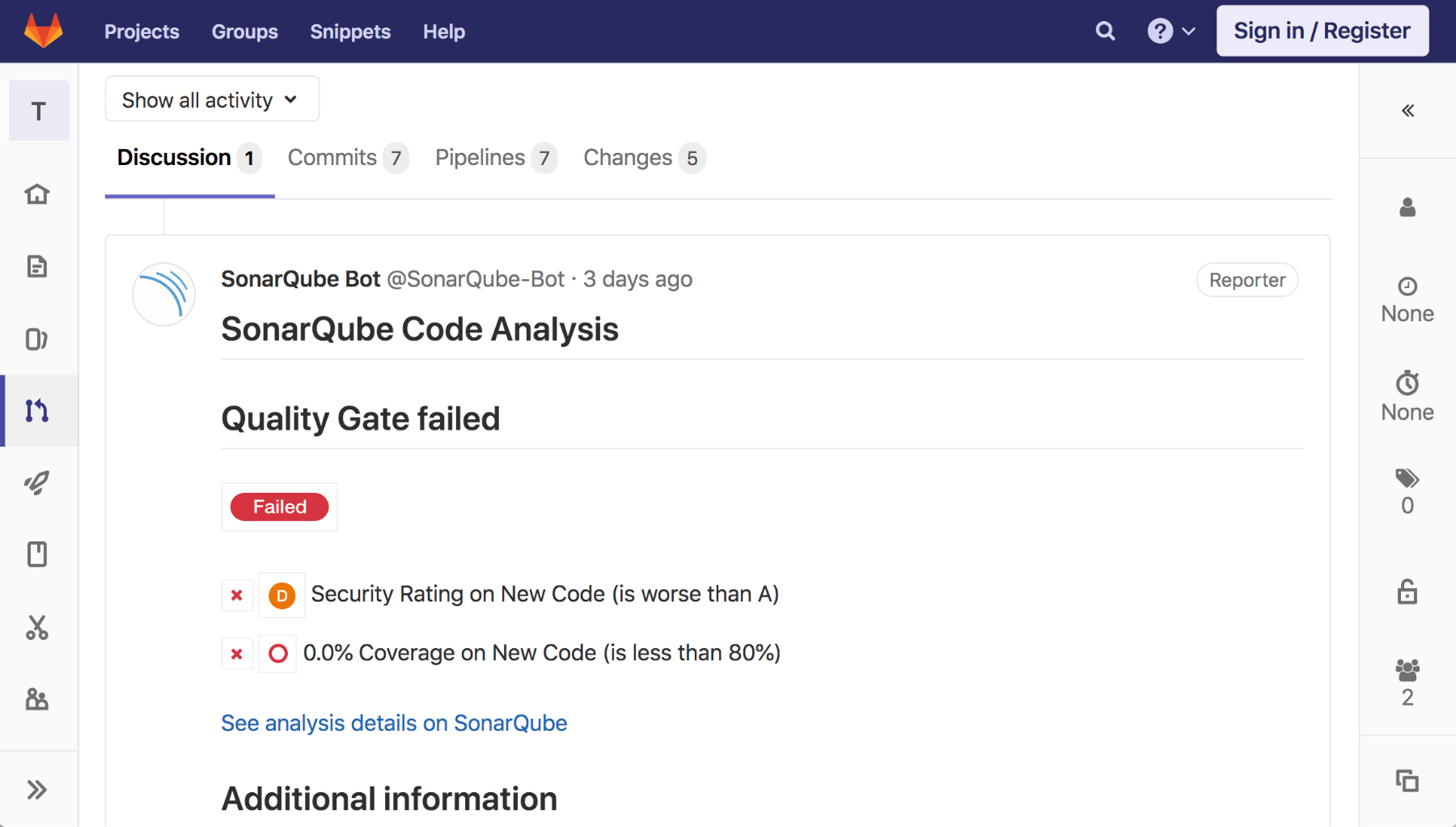 Screenshot Merge Request que no pasa el Quality Gate en GitLab
